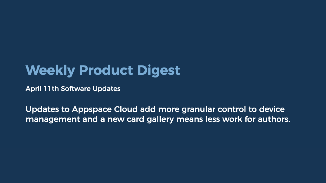 product update card appspace